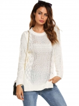 White Long Sleeve O Neck Ribbed Cable Knit Pullover Sweaters