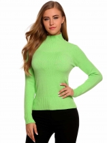 Light green Long Sleeve Elastic Solid Slim Pullover Sweaters