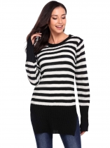 Black Long Sleeve Pullover Crewneck Stripe  Side Split Hem Sweater