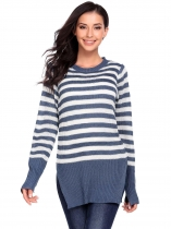 Blue Long Sleeve Pullover Crewneck Stripe  Side Split Hem Sweater