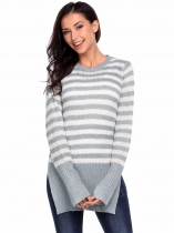 Gray Long Sleeve Pullover Crewneck Stripe  Side Split Hem Sweater