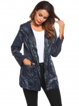 Navy blue Women's Lightweight Hooded Drawstring Solid Raincoat Outdoor Waterproof Jacket