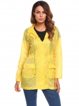 Yellow Women's Lightweight Hooded Drawstring Solid Raincoat Outdoor Waterproof Jacket