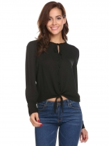 Black Women Loose Flare Sleeve Lace Up Button Down Top