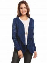 Blue Purple Women Casual Hooded Thread Hem and Cuffs Front Open Hollow Out Knitted Cardigan