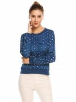 Dark blue O-Neck Long Sleeve Dot Thread Hem and Cuffs T-shirt