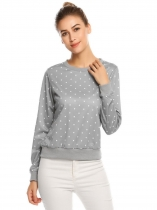 Light gray O-Neck Long Sleeve Dot Thread Hem and Cuffs T-shirt