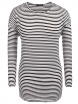 White Plus Size Casual O-Neck Long Sleeve Striped Long Tops