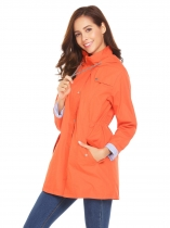 Orange Women Casual Hooded Long Sleeve Zipper Lightweight Raincoat Waterproof Jacket