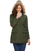 Army green Casual Hooded Thickened Warm Solid Zipper Long Jacket