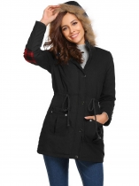 Black Casual Hooded Thickened Warm Solid Zipper Long Jacket