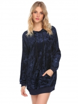 Navy blue Women Hooded Drop-Shoulder Velvet Long Loose Pullover Hoodie Sweatshirt with Pocket