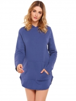 Navy blue Solid Long Sleeve Pocket Pullover Slit Hem Hoodie