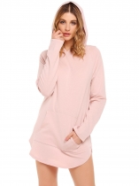 Pink Solid Long Sleeve Pocket Pullover Slit Hem Hoodie