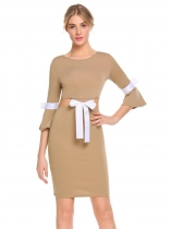 Coffee Women V-Neck 3/4 Flare Sleeve Patchwork Package Hip Bow Tie Sexy Dress