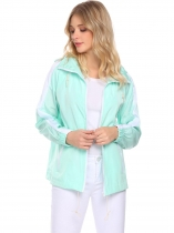 Light green Women Hooded Long Sleeve Lightweight Waterproof Zipper Raincoat Pockets