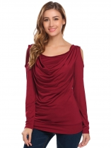 Wine red Women Cowl Neck Cold Shoulder Long Sleeve Solid Draped Slim Fit T-Shirt Tops