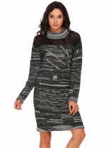 Pattern 1 Orange Women Casual Turtle Neck Long Sleeve Prints Knit Loose Pullover Sweater Dress