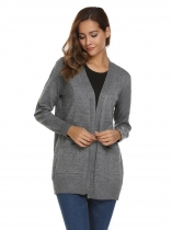Grey Long Sleeve Open Front Solid Knit Cardigan