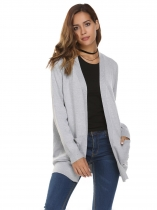 Light gray Long Sleeve Open Front Solid Knit Cardigan