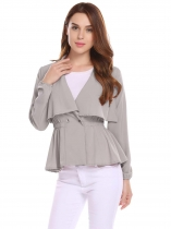Grey V-Neck Long Sleeve Elastic Waist A-Line Pleated Hem Jacket