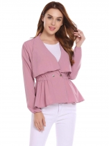 Pink V-Neck Long Sleeve Elastic Waist A-Line Pleated Hem Jacket