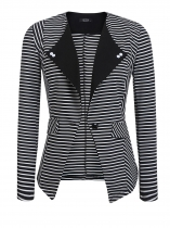 White Women Lapel One Button Striped Contrast Color Slim Fit Casual Office Blazer