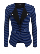Blue Women Lapel One Button Striped Contrast Color Slim Fit Casual Office Blazer