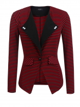 Red Women Lapel One Button Striped Contrast Color Slim Fit Casual Office Blazer