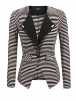 Khaki Women Lapel One Button Striped Contrast Color Slim Fit Casual Office Blazer
