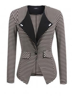 1ba3ee78ec Khaki Women Lapel One Button Striped Contrast Color Slim Fit Casual Office  Blazer