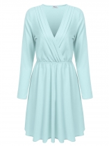 Light blue Femmes Casual V Neck Manches longues Solid Waist Ruched Plissé Mini robe