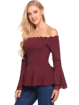 Wine red Scalloped Neck Off Shoulder Flare Sleeve Slim Fit Peplum Top