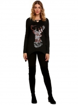 Black Women Fashion Long Sleeve Printed Keyhole Asymmetric T-Shirt