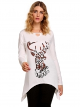 White Women Fashion Long Sleeve Printed Keyhole Asymmetric T-Shirt