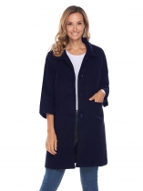 Navy blue Women 3/4 Sleeve Single Breasted Wool Blend Long Button Up Coat