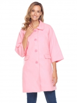 Pink Women 3/4 Sleeve Single Breasted Wool Blend Long Button Up Coat