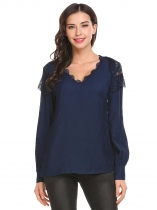 Navy blue Women Casual V-Neck Long Sleeve Lace Patchwork Blouse