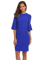 Blue Women Flare Sleeve Solid Pencil Dress Bodycon OL Business