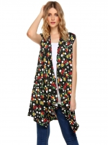 Black Floral Draped Open Sleeveless Front Asymmetrical Long Cardigan