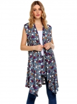 Navy blue Floral Draped Open Sleeveless Front Asymmetrical Long Cardigan