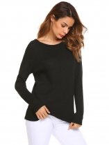 Black Long Sleeve O Neck Knit Pullover Sweater
