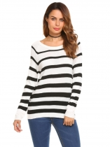 Branco Mulheres Casual Raglan Sleeve O Neck Knit Pullover Striped Sweater