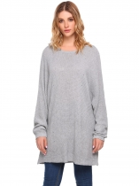 Cinza-claro Mulheres Casual Bat Wing Sleeve O Neck Solid Loose Fit Pullovers Sweaters