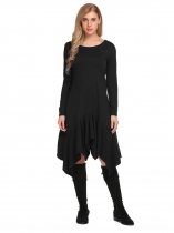 Black Long Sleeve Solid Irregular Ruffles Dress