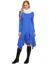 Blue Long Sleeve Solid Irregular Ruffles Dress