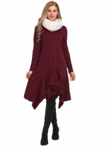 Wine red Long Sleeve Solid Irregular Ruffles Dress
