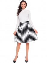 Black Women Casual High Waist Back Zipper A-Line Striped Sexy Skirt