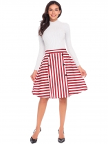 Red Women Casual High Waist Back Zipper A-Line Striped Sexy Skirt