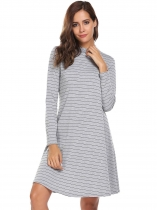 Gray O-Neck Long Sleeve Striped Loose Fit Dress